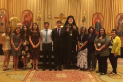Re-elected to serve as Teen SOYO Diocesan Officers: Dominik Milkie, President (to the left of Sayidna JOSEPH), and Abby Abraham, Vice-President (fourth from left); Re-elected to serve as President of the Antiochian Women: Charmaine Darmour, President (third from right)