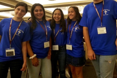 Participants in Teen Bible Bowl teams:  (from left to right) Hannah Mitchell,  Maddie Manning, Juliana Aparicio, Katelyn Matarese and Andrew Mitchell; (missing from picture) Olivia Mitchell, George Khouri III, Dominick Milkie,  and Abby Abraham