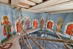 Work on the third floor continues with the installation of the prophet canvases and touch-up painting.