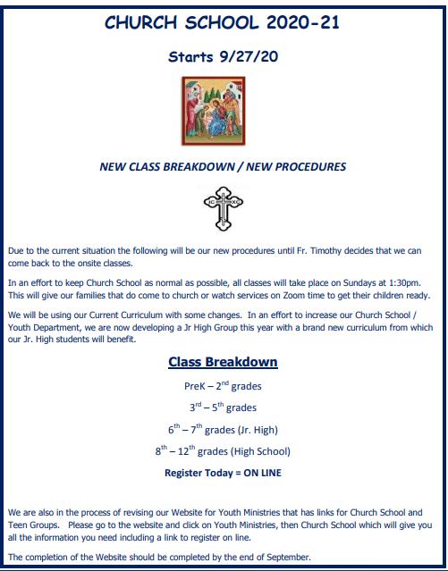 Church School NEW PROCEDURES